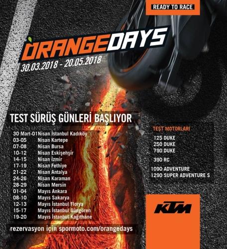 KTM Orange Day Test Sürüş Günleri Başlıyor