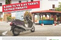 Honda'dan 5.000 TL'ye 9 ay taksit, %0 faiz fırsatı!